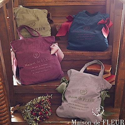 Maison de FLEUR 燈芯絨側蝴蝶結綁帶手提包
