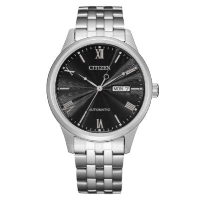 CITIZEN Mechanical時尚機械日期腕錶-銀X黑(NH7501-85H)40mm