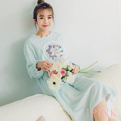 i PINK 美夢宣言 保暖水貂絨洋裝居家服睡衣(藍)