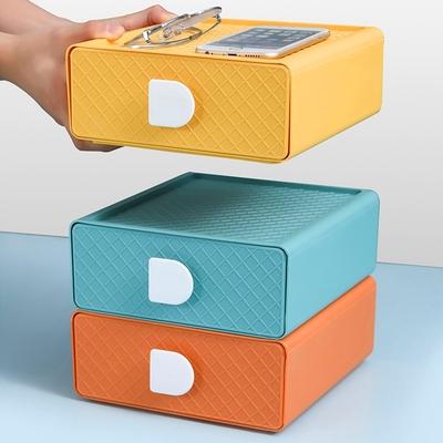 E.City_可疊加菱紋桌上型抽屜收納盒