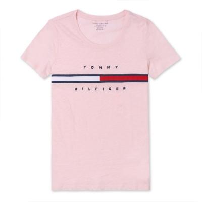 TOMMY 經典刺繡大LOGO文字短袖T恤 (女)-粉色