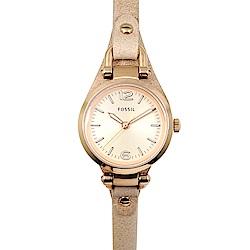 FOSSIL 美國精品手錶 GEORGIA MINI 玫瑰金錶盤錶框棕色皮革錶帶26mm