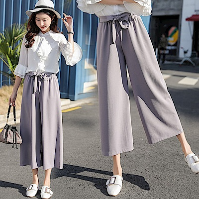 La Belleza素色冰絲綢布腰綁蝴蝶結鬆緊腰闊腿褲寬褲