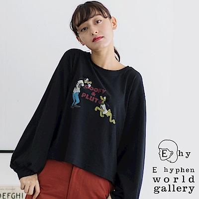 E hyphen Disney聯名款-高飛&布魯托圖案打印T恤
