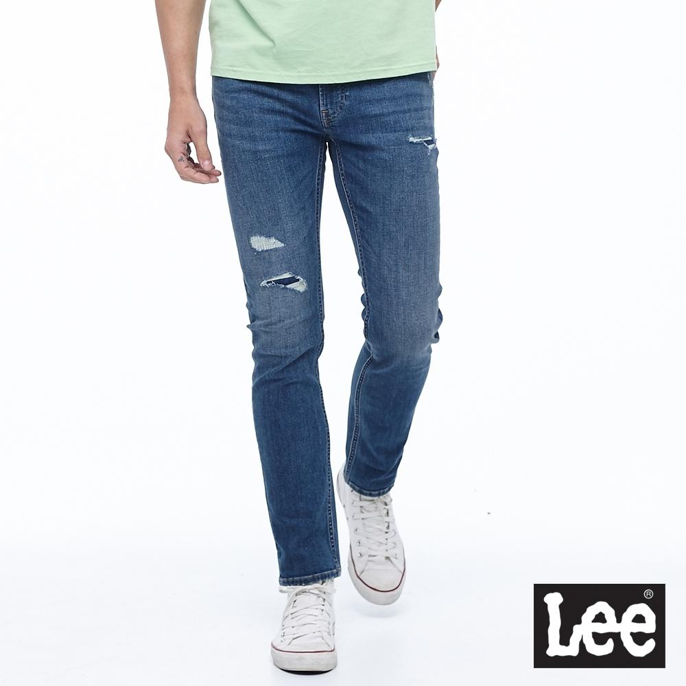 Lee 牛仔褲 722 低腰合身直筒 男 中藍 彈性 縫補破壞設計