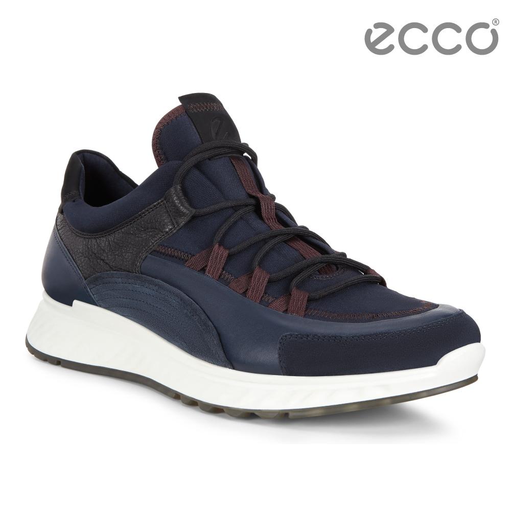 ECCO ST.1 M 舒適動能拼色戶外運動鞋 男-深藍