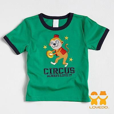 【LOVEDO-艾唯多童裝】敲鑼小猴 拼布短袖T恤 (綠)