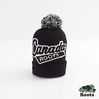 Roots配件- 加拿大系列毛球針織帽-黑