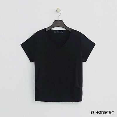 Hang Ten - 女裝 - 純色V領棉質短T桖 - 黑