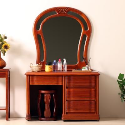 D&T 德泰傢俱 原木典藏 樟木化妝台(不含椅)-111x51x173cm