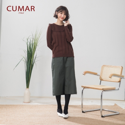 【CUMAR】棉質開衩銅釦-長裙(二色/版型修身)