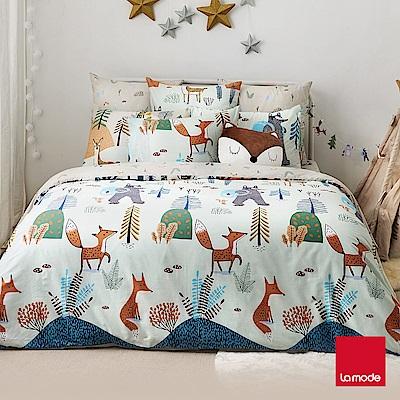 La Mode寢飾 森林小學環保印染100%精梳棉兩用被床包組(加大)