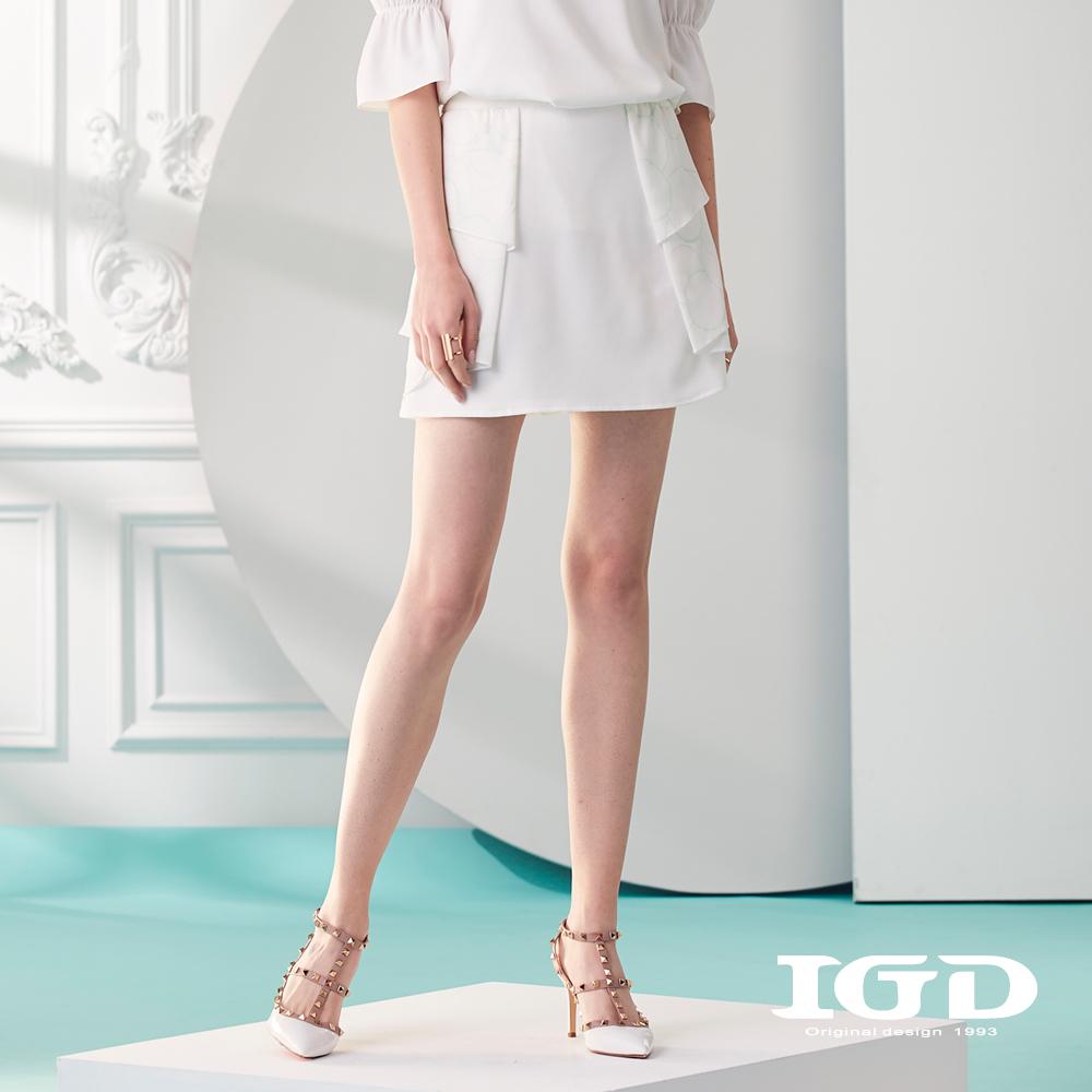 IGD英格麗 荷葉壓摺圓圈印花短裙-白色