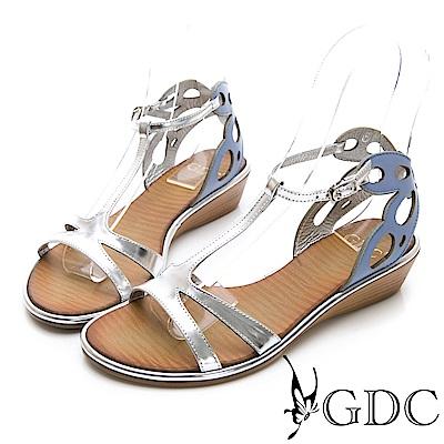 GDC-真皮貴氣金屬感時尚前衛涼鞋-銀色