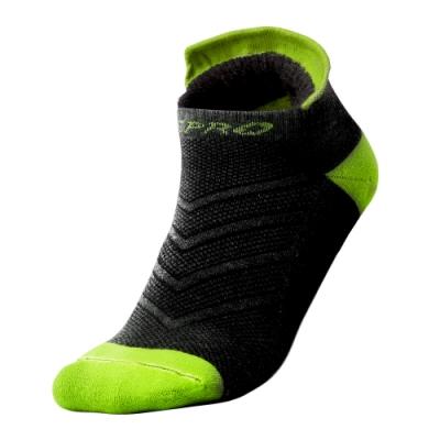 【ZEPRO】男子抗菌止滑慢跑襪-黑/螢光綠