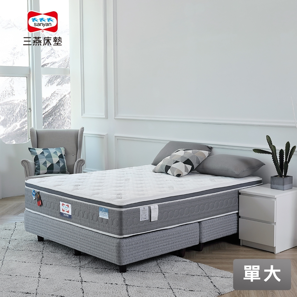 【三燕床墊】極凍系列 極凍3號-100%日本iCOLD冰晶紗紓壓獨立筒床墊-單大(贈3M防水保潔墊)
