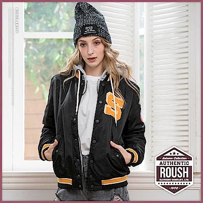 Roush 女生over size灰色連帽假兩件鋪棉棒球外套(2色)
