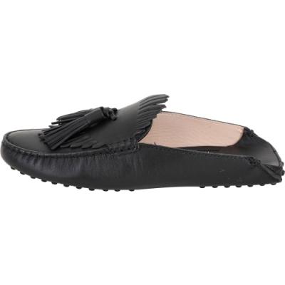 TOD'S Gommino 流蘇拖鞋式牛皮豆豆穆勒鞋(女款/黑色)