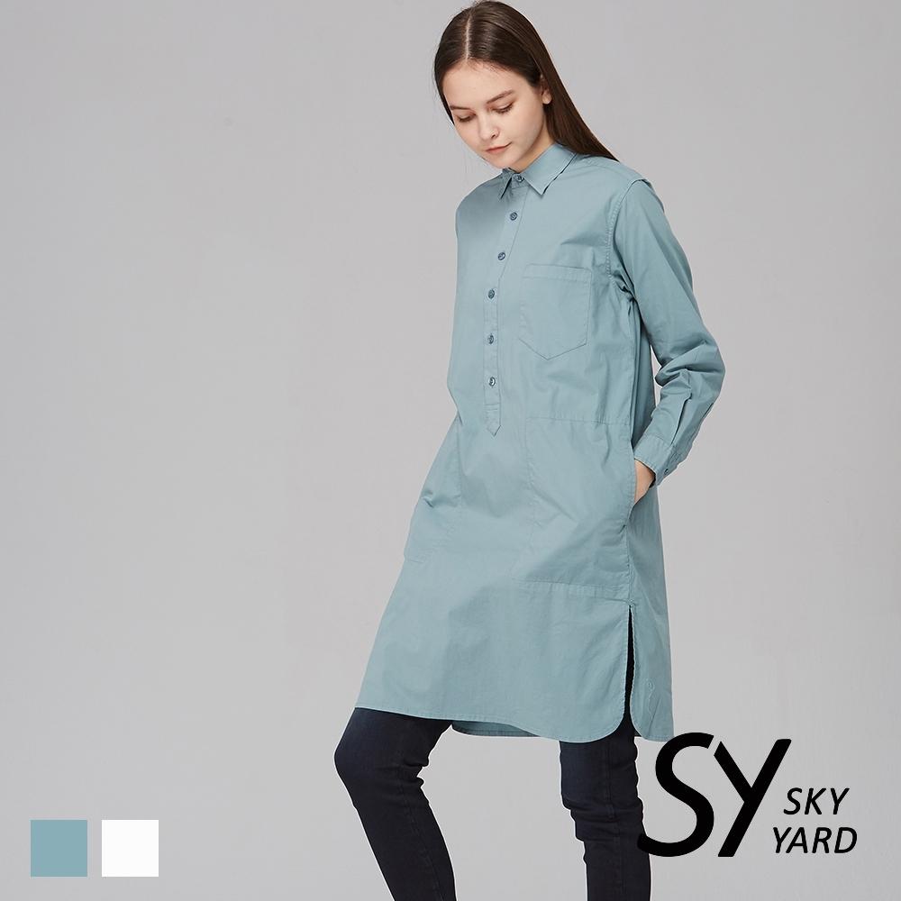 【SKY YARD 天空花園】簡約棉質襯衫式連身洋裝-湖綠
