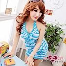 泳衣 海洋季節 橫條紋二件式泳裝(藍M.L) AngelHoney天使霓裳