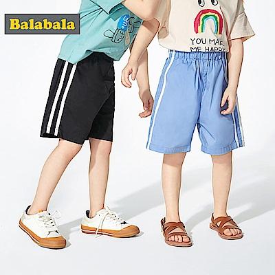 Balabala巴拉巴拉-基本款百搭側邊條紋休閒短褲-中性款(4色)