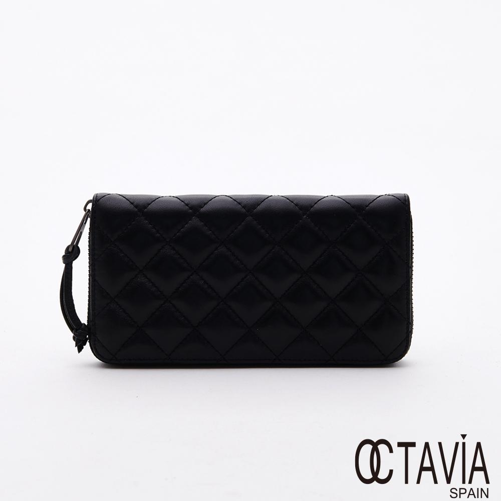 OCTAVIA8 真皮 - 摸摸頭  菱格鋪棉羊皮全拉式簡單長夾 - 迷人黑