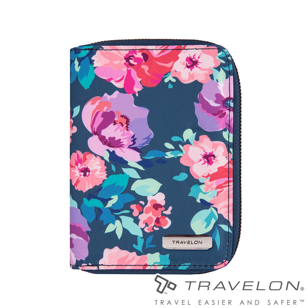 Travelon美國防盜包 RFID BLOCKING拉鍊護照包TL1-43401藍印花