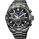 CITIZEN 星辰PROMASTER 專業電波計時潛水腕錶-黑黃(CB5037-84E)