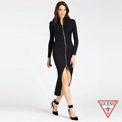 GUESS-女裝-前開衩針織長袖連身裙-黑