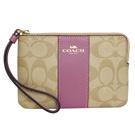 COACH淺卡C Logo中拼乾燥紫真皮拉鍊萬用手拿包