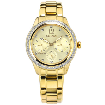 CITIZEN 光動能 晶鑽 礦石強化玻璃 日期星期 日本機芯 不鏽鋼手錶-鍍金/36mm