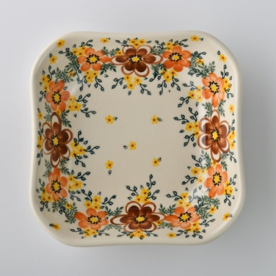 波蘭陶 丹桂花落系列 方形深餐盤 20cm 波蘭手工製