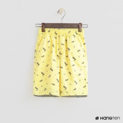 Hang Ten -童裝 - 純色滿版汽車印花短褲 - 黃