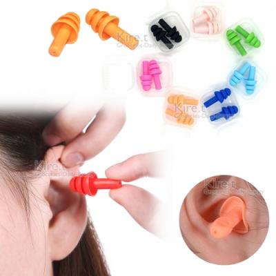 kiret 矽膠耳塞 游泳睡眠螺旋三層耳塞 隔音防噪音-超值4組