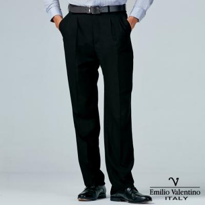 Emilio Valentino 范倫提諾商務打摺西裝褲-黑