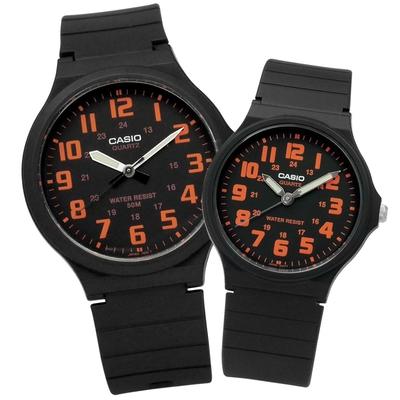 CASIO 卡西歐 簡潔復刻 數字時標 情侶對錶-黑橘色/42mm+33mm