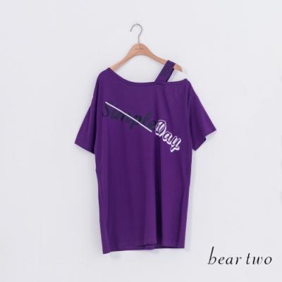 beartwo-斜領文字長上衣-紫