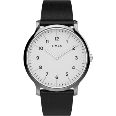 TIMEX 天美時 復刻系列 極簡復古手錶-白x黑/40mm
