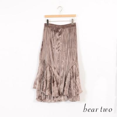 beartwo 細絨感變化造型層次長裙-卡其