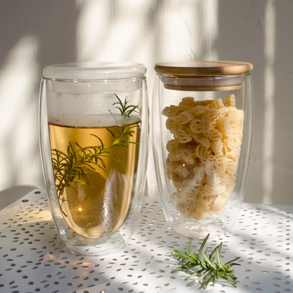 Homely Zakka 午茶食光隔熱保溫雙層双蓋玻璃杯450ml