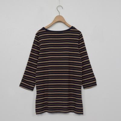 beartwo-條紋七分袖上衣-黃
