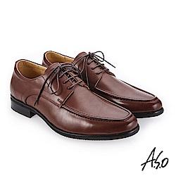 A.S.O 零壓挺力 臘感牛皮高透氣真皮鞋 咖啡_0