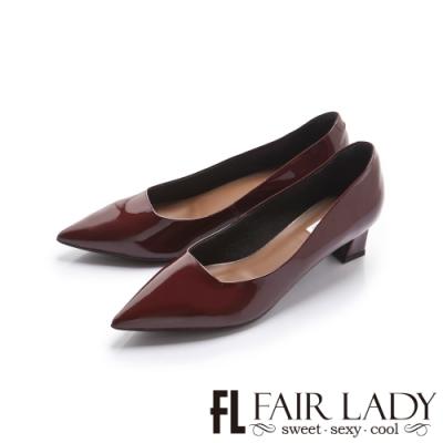 FAIR LADY 優雅小姐尖頭漆面高雅塊跟鞋 酒紅