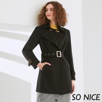 SO NICE都會俐落羅馬布風衣外套