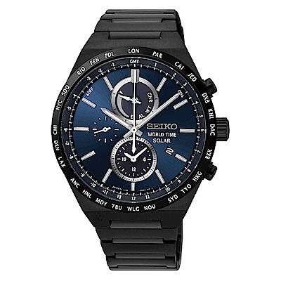 SEIKO 精工SPIRIT太陽能世界時間計時手錶SSC525J1-藍X黑/41mm