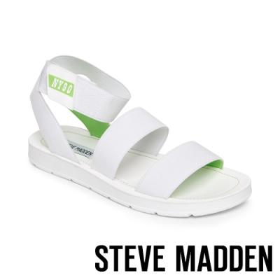 STEVE MADDEN-HENLEY 玩彩撞色NY90交叉束帶平底涼鞋-白綠