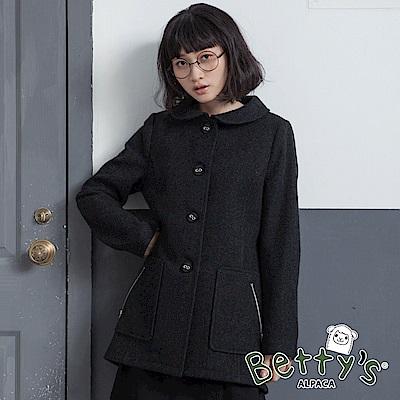 betty's貝蒂思 高雅翻領羊毛大衣(深灰)