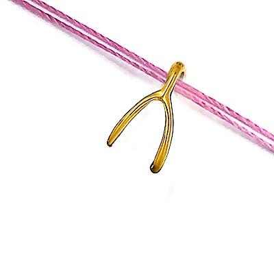 Dogeared 許願骨 Wishbone 許願超靈驗 金墜粉紅色繩項鍊