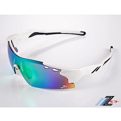 【Z-POLS】新一代太空纖維彈性輕量一片式七彩REVO電鍍帥氣頂級運動眼鏡
