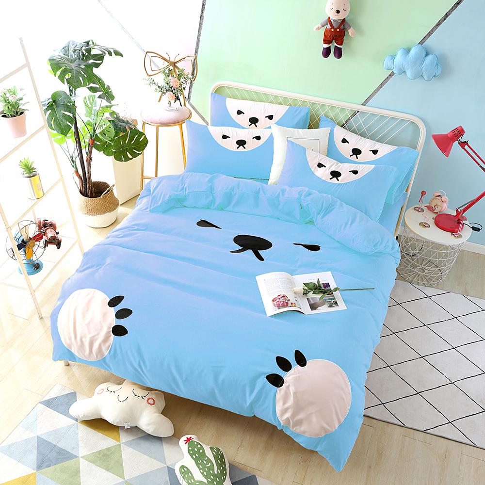 HUEI生活提案 柔絲絨被套床包四件組 加大 熊愛睏藍